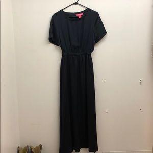 Deep Blue/black Sleek Maxi Dress - Brand New